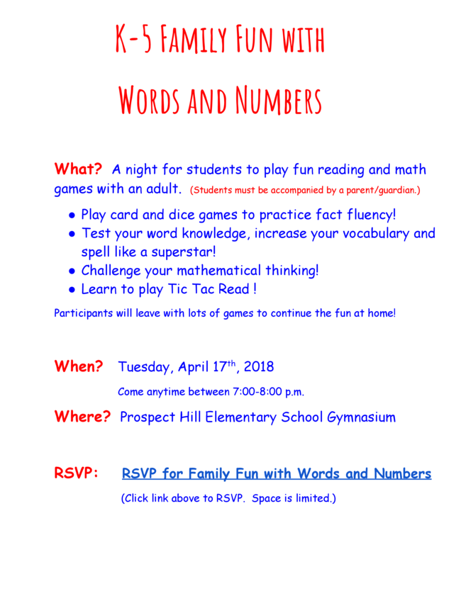 Family Math and ELA Night